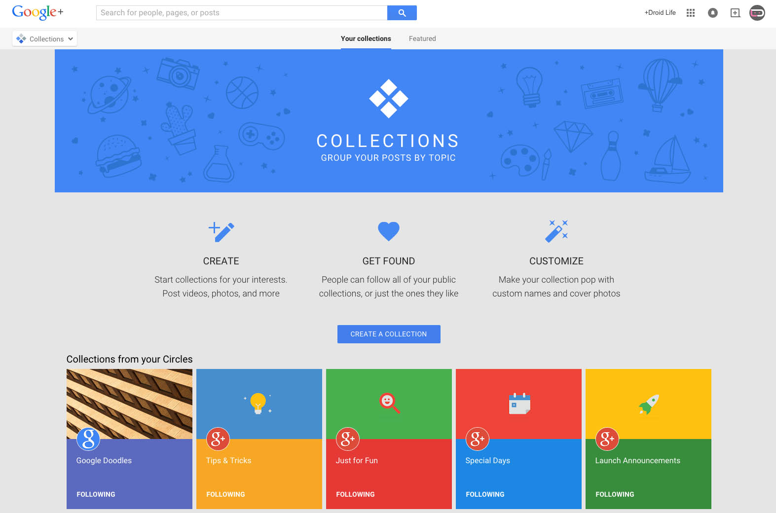 Google Plus Collections